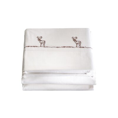 4 Piece Embroidered Buck 200 Thread Count 100% Cotton Sheet Set Size: King