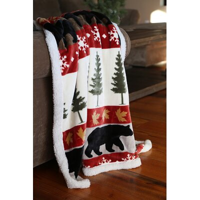 Lorna Tall Pine Plush Sherpa Rustic Cabin Throw