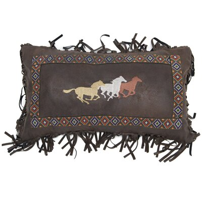 Leflore Three Horses Western Faux Leather Lumbar Pillow