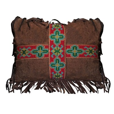 Lenoir Southwest Embroidered Band Cross Faux Leather Lumbar Pillow