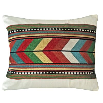 Lirette Chain Stitch Rainbow Stripe Lumbar Pillow