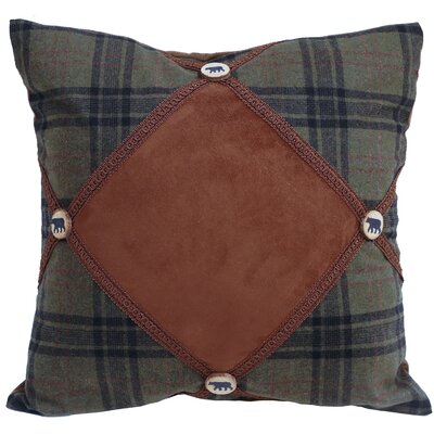 Levron Plaid Bear Button Throw Pillow