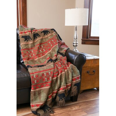Laux Bear Country Rustic Lined Chenille Throw