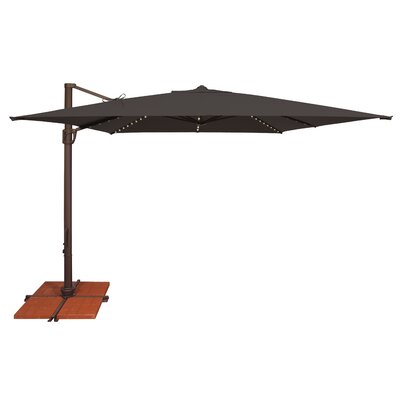 10 Bali Square Cantilever Umbrella Fabric: Solefin / Black