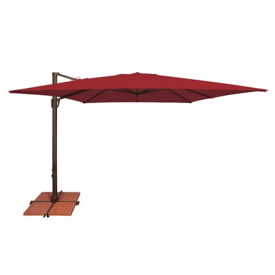 10 Bali Square Cantilever Umbrella Fabric: Solefin / Really Red