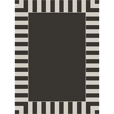 Cabana Stripe Black/White Outdoor Area Rug Rug Size: 53 x 74
