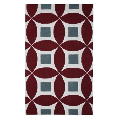 Henley Hand-Tufted Burgundy/Gray Area Rug Rug Size: Sample 6