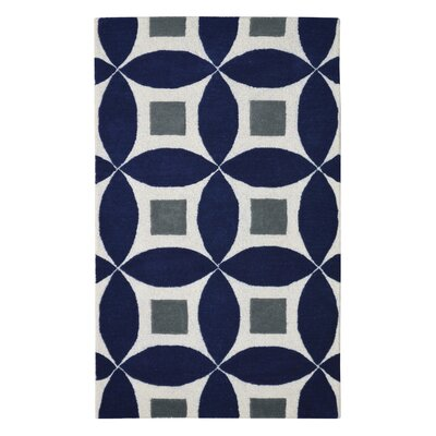 Henley Hand-Tufted Navy Blue/Gray Area Rug Rug Size: 5 x 8