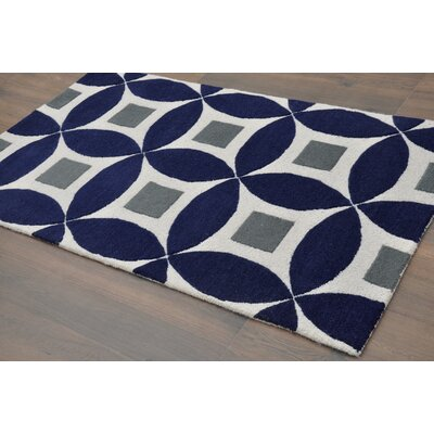 Henley Hand-Tufted Navy Blue/Gray Area Rug Rug Size: 8 x 10