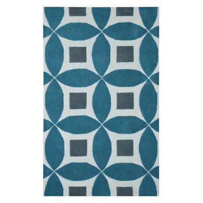 Henley Hand-Tufted Teal Blue/Gray Area Rug Rug Size: 5 x 8