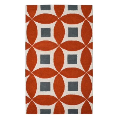 Henley Hand-Tufted Orange/Gray Area Rug Rug Size: 3 x 5