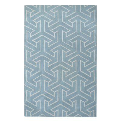 Modern Marvel Hand-Tufted Cyan Blue Area Rug Size: 5 x 8