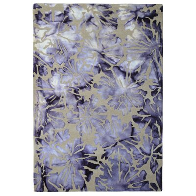 Wool Floral Hand-Tufted Ivory/Purple Area Rug Rug Size: 6 x 6