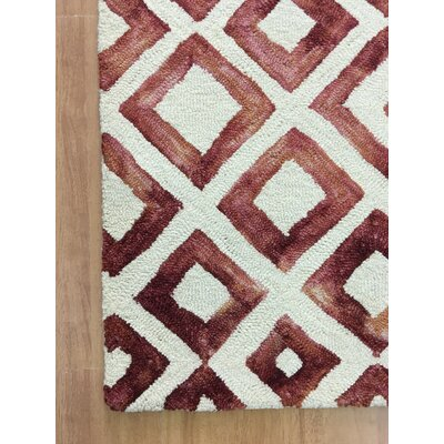 Wool Hand-Tufted Ivory/Wine Red Area Rug Rug Size: 6 x 6