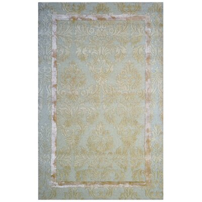 Wool/Viscose Floral Hand-Tufted Green Area Rug
