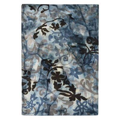 Wool Floral Hand-Tufted Blue/Brown Area Rug Rug Size: 5 x 8