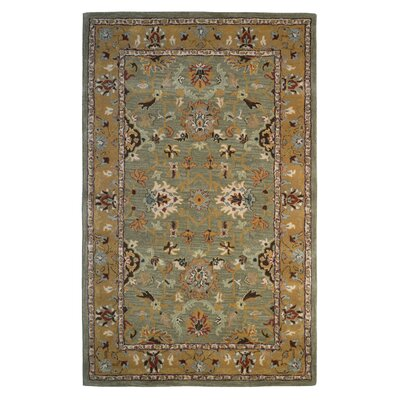 Wool Hand-Tufted Green/Brown Area Rug Rug Size: 5 x 8