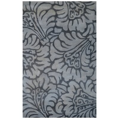 Wool Floral Hand-Tufted Gray Area Rug Rug Size: 6 x 6