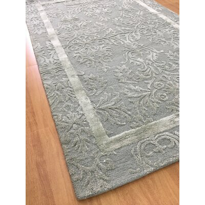 Wool/Viscose Hand-Tufted Blue Area Rug Rug Size: 5 x 8