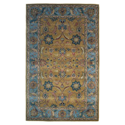 Wool Hand-Tufted Gold/Blue Area Rug Rug Size: 6 x 6