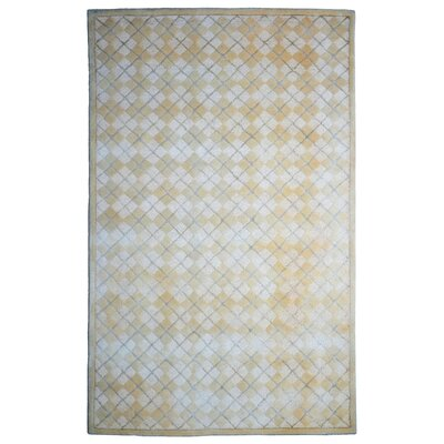 Wool/Viscose Hand-Tufted Beige/Ivory Area Rug Rug Size: 6 x 6