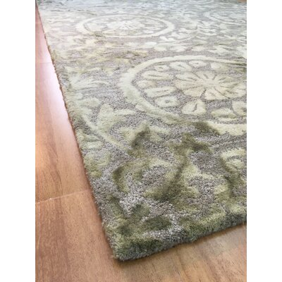Wool Floral Hand-Tufted Charcoal/Green Area Rug Rug Size: 6 x 6
