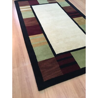 Wool Hand-Tufted Ivory/Black Area Rug Rug Size: 5 x 8