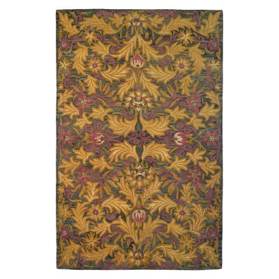Wool Floral Hand-Tufted Brown/Gold Area Rug Rug Size: 5 x 8