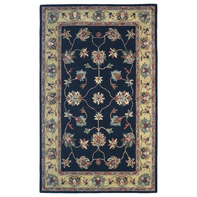 Wool Hand-Tufted Black/Gold Area Rug Rug Size: 6
