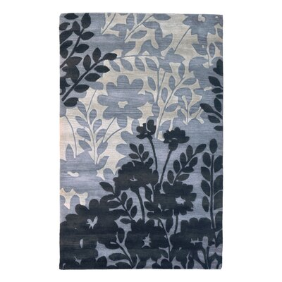 Wool Floral Hand-Tufted Gray/Black Area Rug Rug Size: 6