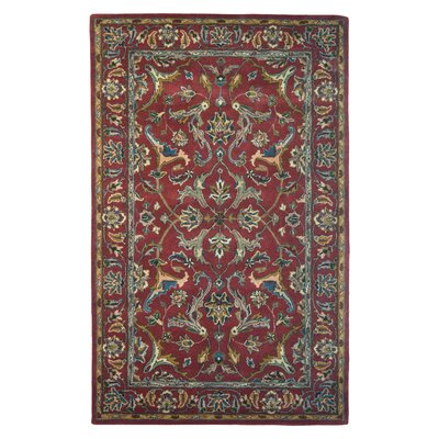 Wool Hand-Tufted Red/Gold Area Rug Rug Size: 5 x 8