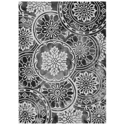 Wool Floral Hand-Tufted Ivory/Charcoal Area Rug Rug Size: 6 x 6