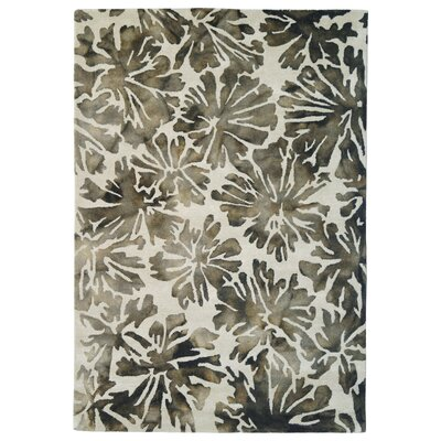 Wool Floral Hand-Tufted Gray/Charcoal Area Rug Rug Size: 6 x 6