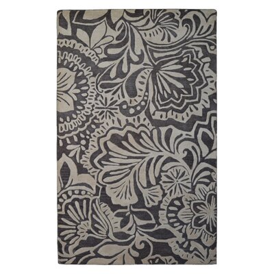 Wool Floral Hand-Tufted Ivory/Brown Area Rug Rug Size: 6 x 6