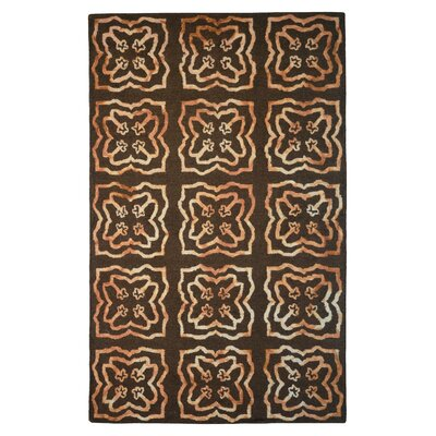 Wool Hand-Tufted Brown/Gold Area Rug Rug Size: 6 x 6