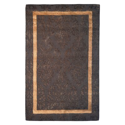 Wool/Viscose Hand-Tufted Brown/Gold Area Rug Rug Size: 6 x 6