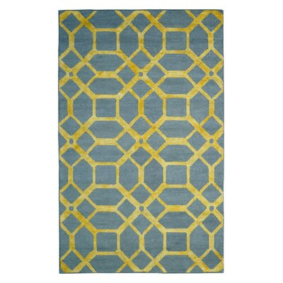 Wool Hand-Tufted Gray/Gold Area Rug Rug Size: 6 x 6
