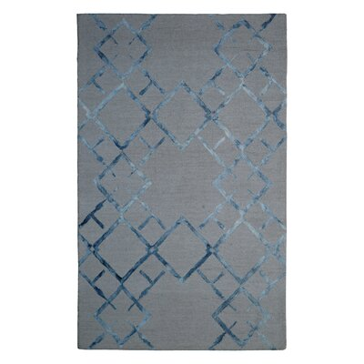 Wool Hand-Tufted Beige/Blue Area Rug Rug Size: 5 x 8