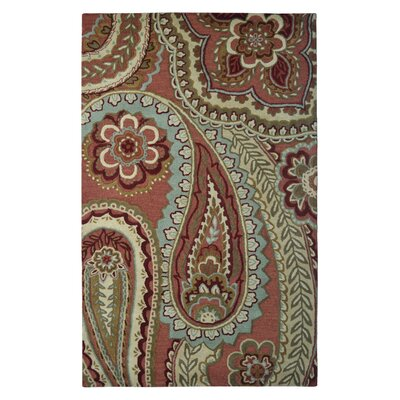 Wool Hand-Tufted Rust/Beige Area Rug Rug Size: 5 x 8