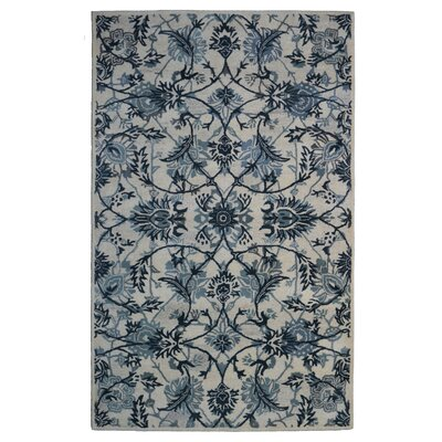 Wool Floral Hand-Tufted Ivory/Gray Area Rug Rug Size: 5 x 8