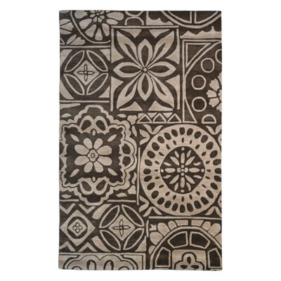 Wool Floral Hand-Tufted Brown/Beige Area Rug Rug Size: 6 x 6