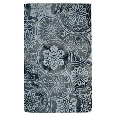 Wool Floral Hand-Tufted Gray/Ivory Area Rug Rug Size: 5 x 8