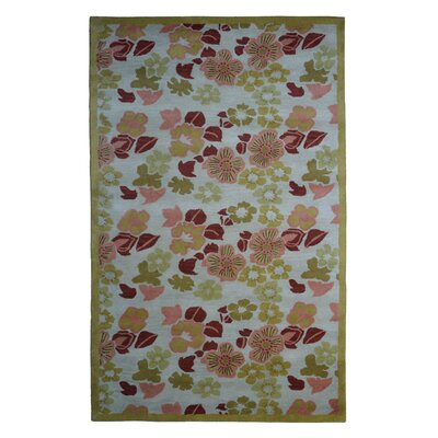 Wool Floral Hand-Tufted Ivory/Green Area Rug Rug Size: 6 x 6