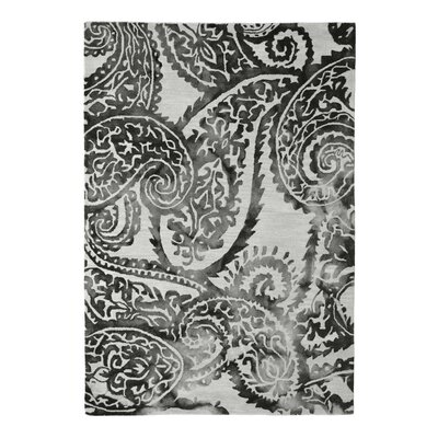 Wool Floral Hand-Tufted Ivory/Black Area Rug Rug Size: 5 x 8
