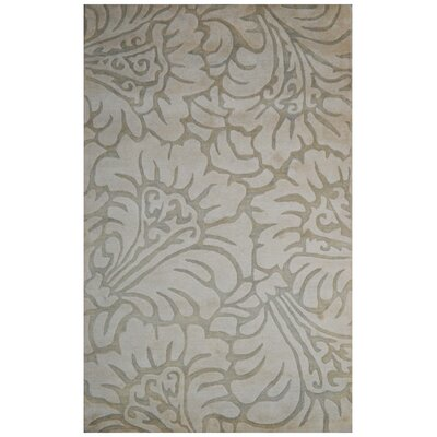 Wool Floral Hand-Tufted Ivory/Green Area Rug Rug Size: 5 x 8