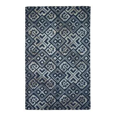 Wool/Viscose Hand-Tufted Black/Gray Area Rug Rug Size: 5 x 8