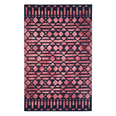 Wool Hand-Tufted Black/Red Area Rug Rug Size: 5 x 8