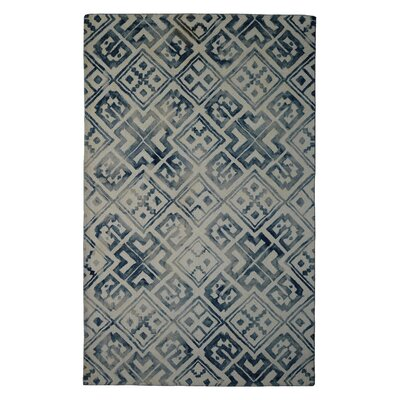Wool Hand-Tufted Ivory/Blue Area Rug Rug Size: Rectangle 5 x 8