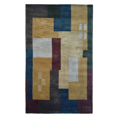 Wool Hand-Tufted Gold/Green Area Rug Rug Size: 5 x 8