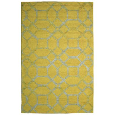 Wool Hand-Tufted Gold/Ivory Area Rug Rug Size: 5 x 8